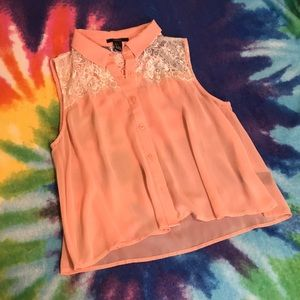F21 Sheer Peach Salmon Chiffon Lace Button Up Top